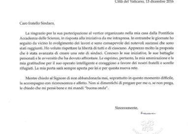 Arriva in Comune una lettera firmata Papa Francesco