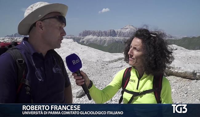 Un docente dell'Università al TG3 per parlare dello scioglimento dei ghiacciai