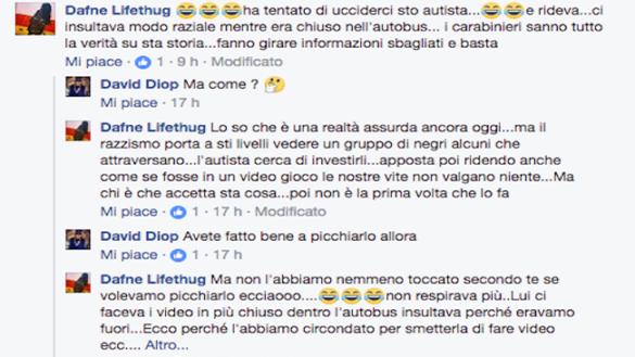 L'aggressione all'autista raccontata su Facebook da una protagonista