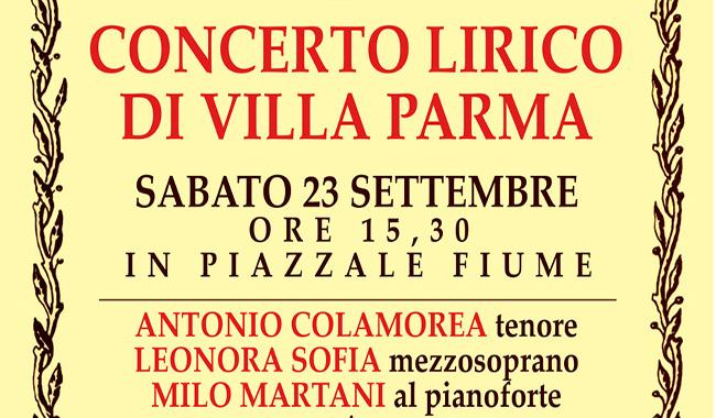Villa Parma, un concerto lirico aperto a tutta la città sabato 23 settembre