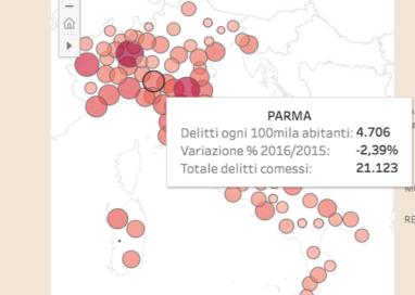 Reati nel 2016, Parma 15esima città italiana più colpita