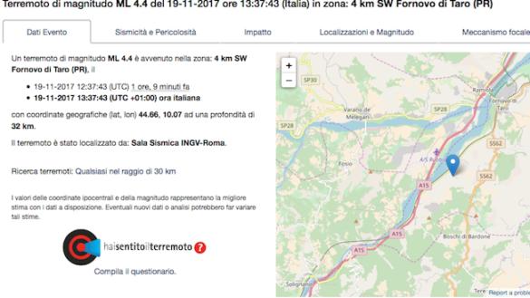 Scossa di magnitudo 4.4 scuote il parmense. Epicentro a Fornovo