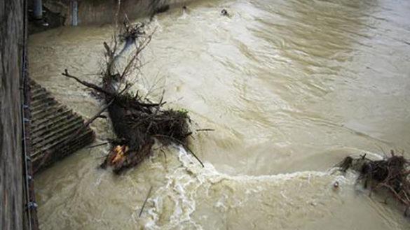Bomba d'acqua in Appennino, alberi e rocce in mezzo alle strade