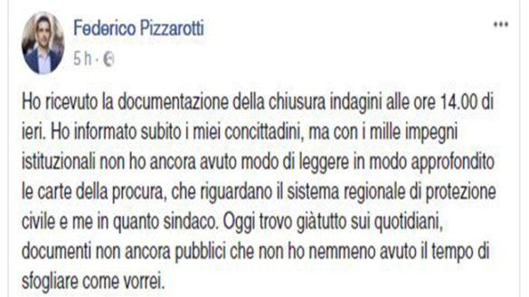 """Pizzarotti si sfoga su FB: """"Il rispetto istituzionale è un'altra cosa"""""""