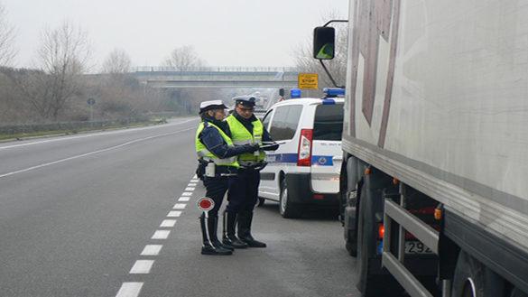 Camionista guida con la carta del conducente di un collega