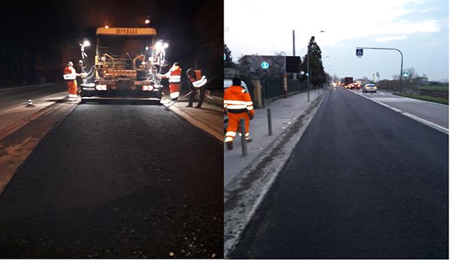 Sorbolo, lavori in notturna per sistemare la strada