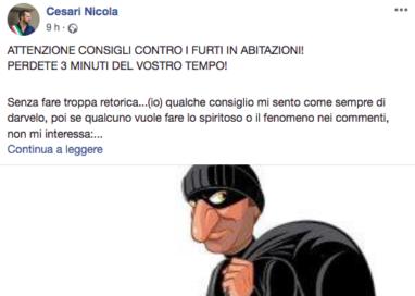 """Il vademecum contro i ladri del Sindaco Cesari: """"Svitate le grondaie"""""""